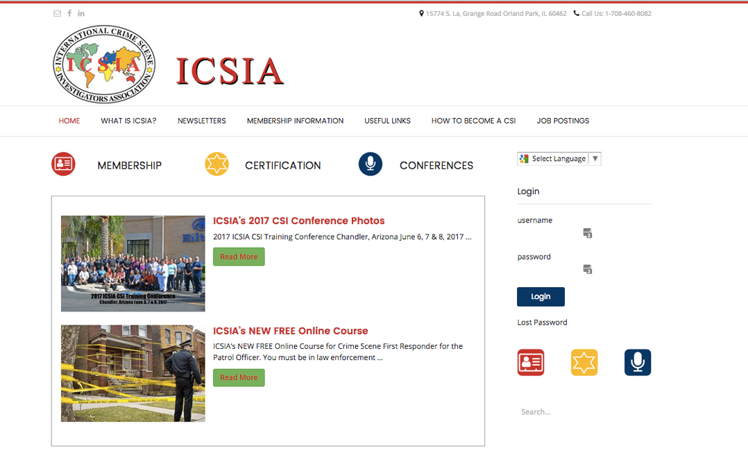 Alison Saracena designs - website INTERNATIONAL CRIME SCENE INVESTIGATORS ASSOCIATION